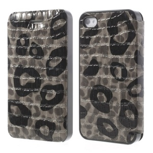 Grey Flower Show Slim Crocodile Spot Flip Leather Case for iPhone 4s 4