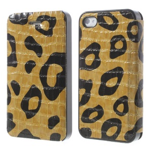 Yellow Flower Show Slim Crocodile Spot Flip Leather Cover for iPhone 4s 4