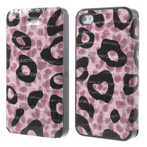 Purple Flower Show Slim Crocodile Spot Protective Leather Cover for iPhone 4s 4