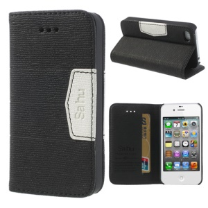 Black for iPhone 4S 4 Sahu Fabric Grain Side Flip Leather Case w/ Card Slot & Stand