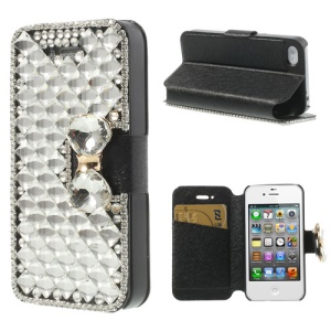 Black for iPhone 4 4S Deluxe Sparkling Bowknot Rhinestone Leather Case Stand