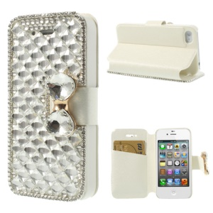 White Deluxe Sparkling Bowknot Rhinestone Leather Shell Cover for iPhone 4 4S