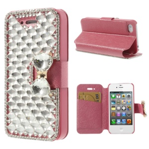 Rose Sparkling Bowknot Deluxe Rhinestone Leather Stand Cover for iPhone 4 4S