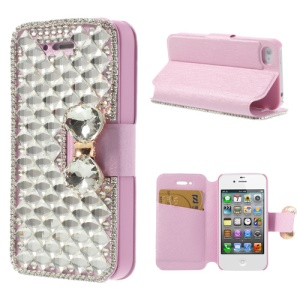 Pink for iPhone 4 4S Sparkling Bowknot Deluxe Rhinestone Leather Case Cover