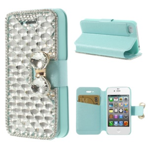 Cyan for iPhone 4 4S Sparkling Deluxe Bowknot Rhinestone Leather Stand Case