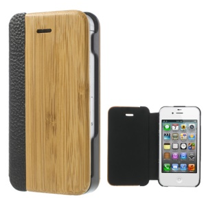 Superb Carbonized Bamboo + PU Leather Case Cover for iPhone 4 4S
