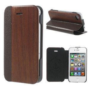 Superb Rosewood + PU Leather Folio Case Shell for iPhone 4 4S