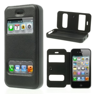 Black Double View Window for iPhone 4s 4 TPU Inner Leather Case w/ Sucker