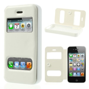 White Double View Window for iPhone 4s 4 TPU Inner Leather Case w/ Sucker