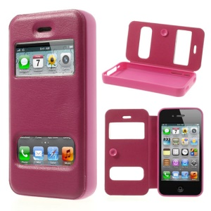 Rose Double View Window for iPhone 4s 4 TPU Inner Leather Case w/ Sucker