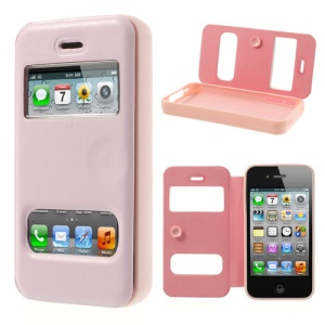 Pink Double View Window for iPhone 4s 4 TPU Inner Leather Cover w/ Sucker
