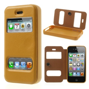 Yellow Double View Window for iPhone 4s 4 TPU Inner Leather Cover w/ Sucker