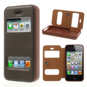 Brown Double View Window for iPhone 4s 4 TPU Inner Leather Cover w/ Sucker
