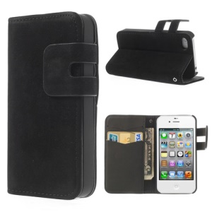 Black for iPhone 4 4S Soft PU Leather Credit Card Wallet Case Stand