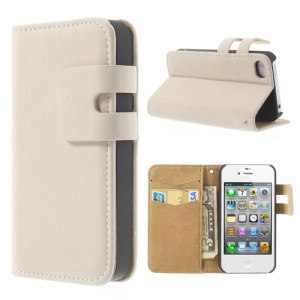 White for iPhone 4 4S Soft PU Leather Credit Card Wallet Case Stand