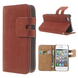 Orange for iPhone 4 4S Soft PU Leather Credit Card Wallet Case Stand