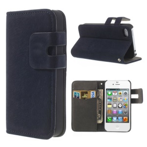 Dark Blue for iPhone 4 4S Soft PU Leather Credit Card Wallet Cover Stand
