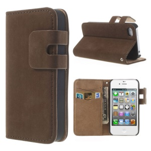Coffee for iPhone 4 4S Magnetic Soft PU Leather Case w/ Card Slot & Stand
