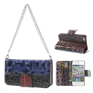 Multi-color Crocodile Magnetic Wallet Leather Handbag Case for iPhone 4s 4 - Black