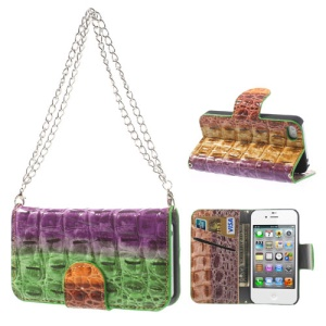 For iPhone 4s 4 Multi-color Crocodile Magnetic Wallet Leather Handbag Cover - Green