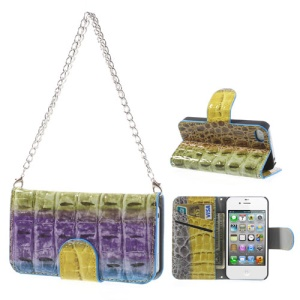 For iPhone 4s 4 Multi-color Crocodile Wallet Leather Handbag Style Case Stand - Purple