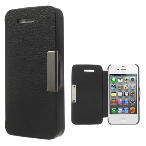 Litchi Magnetic Flip Leather Protective Case for iPhone 4S 4 - Black