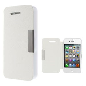 Litchi Magnetic Flip Leather Protective Cover for iPhone 4S 4 - White