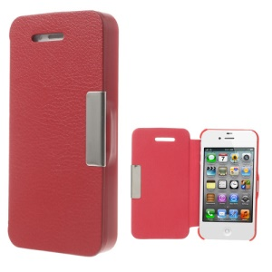 Litchi Magnetic Flip Leather Case Accessory for iPhone 4S 4 - Red