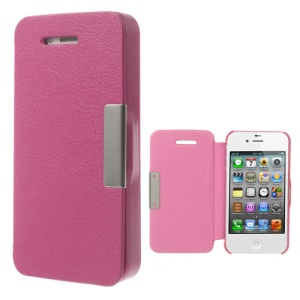 For iPhone 4S 4 Litchi Magnetic Flip Leather Phone Case Cover - Rose