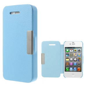 For iPhone 4S 4 Litchi Magnetic Flip Leather Shell Cover - Light Blue