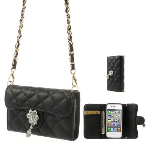 Magnetic Leather Wallet Protector Case for iPhone 4S 4 w/ Shoulder Chain - Black
