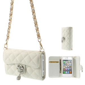 Magnetic Leather Card Holder Phone Case for iPhone 4S 4 w/ Shoulder Chain - White