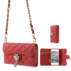 Magnetic Flip Leather Card Holder Cover for iPhone 4S 4 w/ Shoulder Chain - Red
