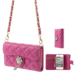 For iPhone 4S 4 Magnetic Flip Leather Card Holder Cover w/ Shoulder Chain - Rose