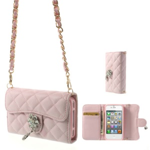 For iPhone 4S 4 Card Holder Flip Leather Shield Cover w/ Shoulder Chain - Pink