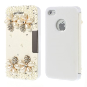 Luxury Pearl Diamond Flowers for iPhone 4 4s Leather Front + Plastic Back Case - White