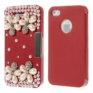 3D Rhinestone Pearl Flowers Leather Magnet Flip Case for iPhone 4 4s - Red