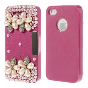 3D Rhinestone Pearl Flowers Flip Leather + Plastic Case for iPhone 4 4s - Rose