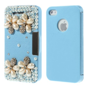 3D Diamante Pearl Flowers Leather Flip Cover for iPhone 4 4s - Sky Blue
