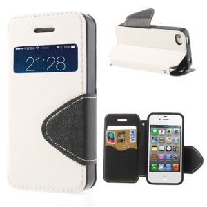 Cross Pattern Flip Leather Window View Cover for iPhone 4S 4 - White