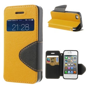 Cross Pattern for iPhone 4S 4 Stand Leather Window View Shell - Orange