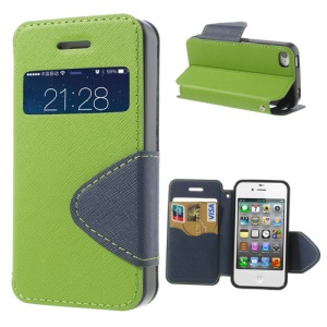 Cross Pattern for iPhone 4S 4 Stand Leather Case w/ View Window - Green