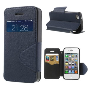 Cross Pattern for iPhone 4S 4 Flip Leather Cover w/ View Window - Deep Blue