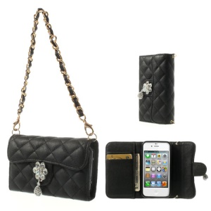 Handbag Style Magnetic Leather Wallet Case for iPhone 4S 4 - Black