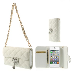 Handbag Style Magnetic Leather Wallet Cover for iPhone 4S 4 - White