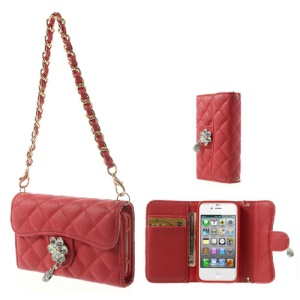 Handbag Style Magnetic Purse Leather Shield Cover for iPhone 4S 4 - Red