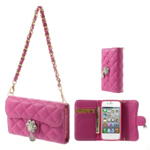 Handbag Style Wallet Leather Protective Case for iPhone 4S 4 - Rose