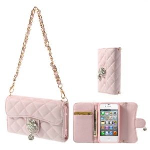 Handbag Style Wallet Leather Protector Cover for iPhone 4S 4 - Pink