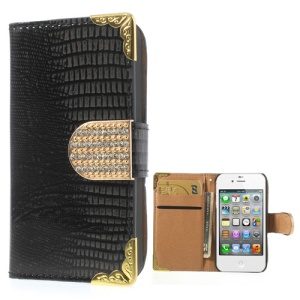 Glossy Lizard Pattern Diamond Magnetic Flap Leather Case for iPhone 4S 4 w/ Card Slots - Black