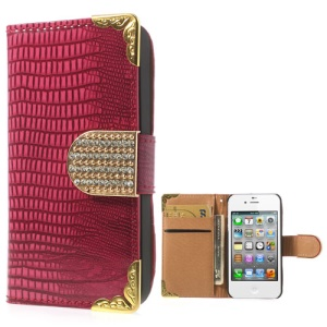 Glossy Lizard Pattern Diamond Magnetic Flap Leather Cover for iPhone 4S 4 w/ Card Slots - Magenta